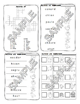 Farm animals / A la ferme FRENCH Games and Worksheets Pack