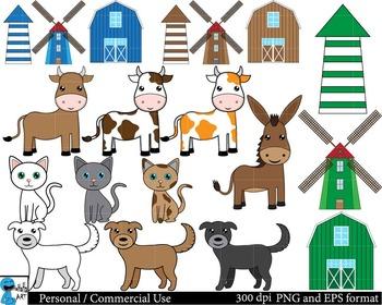 Farm animals Digital Clip Art Graphics 56 images cod53