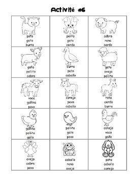 Farm animals / En la granja SPANISH Worksheets only