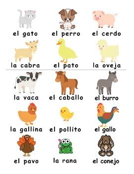 Farm animals / Los animales de la granja SPANISH Games