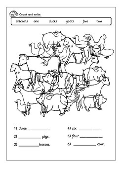 Farm animals activity worksheets.