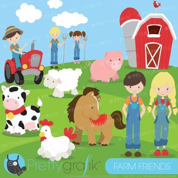 Farm animals and friends clipart commercial use, vector graphics - CL614