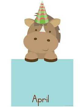 Farm animals birthday chart