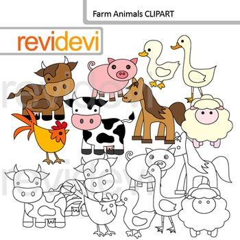 Farm animals clip art and blackline graphic