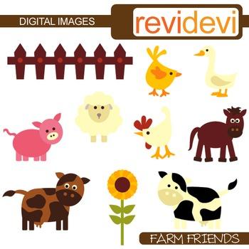 Farm animals clip art (cow, pig, sheep) barnyard clipart