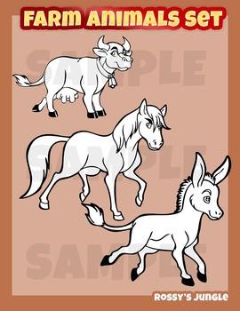 Farm animals clip art set