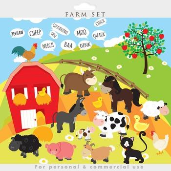 Farm animals clipart - clip art, cow, pig, goat, sheep, farmhouse, fields, horse