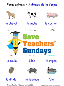 Farm animals in French Worksheets, Games, Activities and Flash Cards