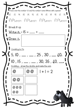 Farm animals maths and literacy packet