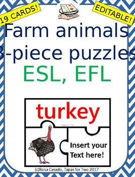 Farm animals puzzles ESL ELL EDITABLE!