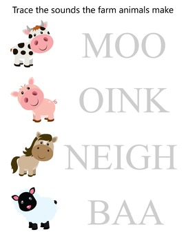 Farm animals tracing sheet