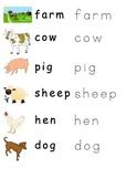 Farm animals writing parctice