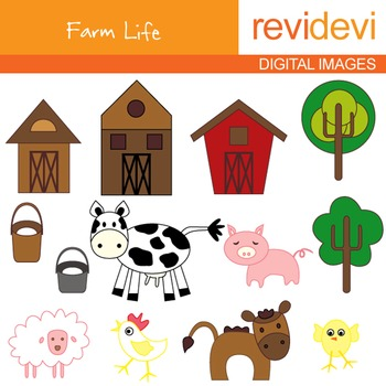 Farm clip art - Barnyard clipart - Farm animals