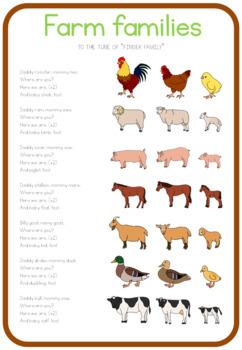 Farm animal families cycle song