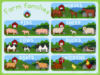 Farm animal families poster