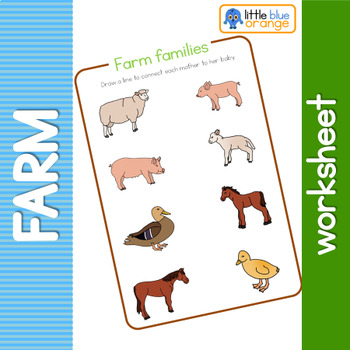 Farm animal families  worksheet
