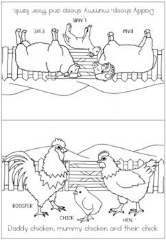 Farm animal families coloring booklet