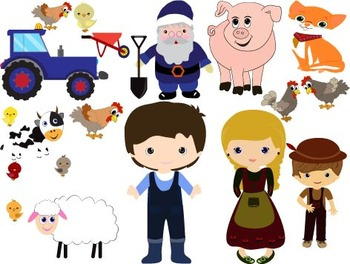 Farm farmer ANIMALS school teachers truck house pig kitty rooster Clip Art -012-