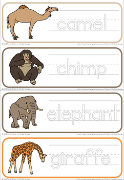 Zoo animals letter formation worksheets