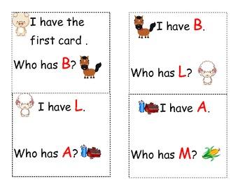 Farm theme who has letter game