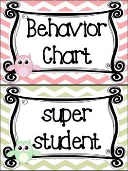 Owl themed Behavior Clip Chart-8 Cards
