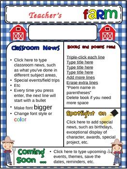 Farm-themed Class Newsletter: EDITABLE