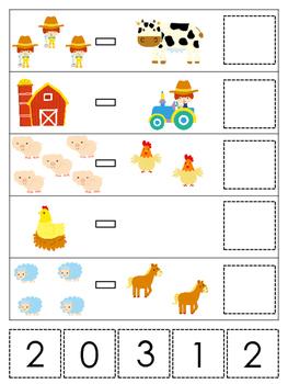 Farm themed Math Subtraction preschool learning game. Daycare math