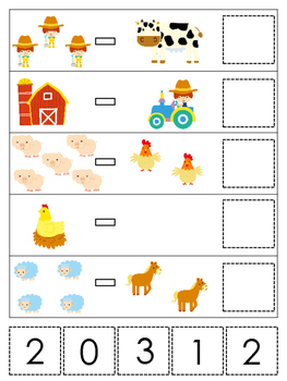 Farm themed Math Subtraction preschool learning game. Dayc