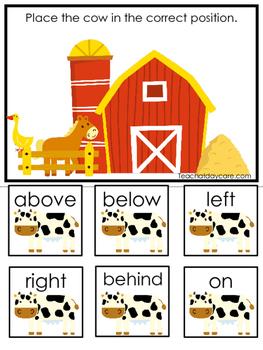Farm themed Positional Game.  Printable Preschool Curriculum Game