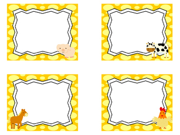 Farm themed Printable Blank Label Cards. Class Accessories.