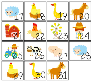 Farm themed Printable Calendar Pieces Classroom Bulletin Board Set.