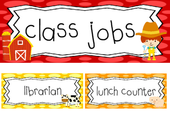 Farm themed Printable Class Jobs Labels Classroom Bulletin Board Set.