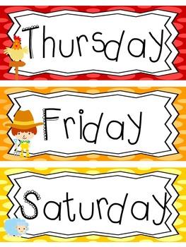 Farm themed Printable Days of the Week Classroom Bulletin Board Set. Class Acce