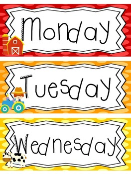 photograph relating to Days of the Week Printable named Farm themed Printable Times of the 7 days Clroom Bulletin Board Preset. Cl Acce
