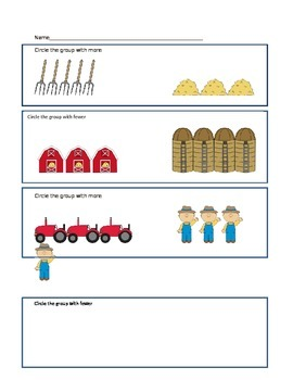 Farm themed more or fewer worksheet