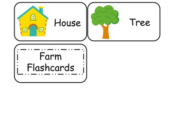 Farm themed printable Picture Word Flash Cards. Preschool flashcards.