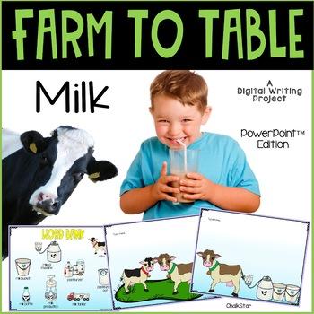 Farm to Table Milk Writing PowerPoint™