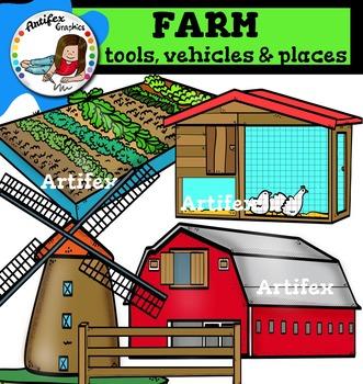 Farm tools, vehicles and places clip art
