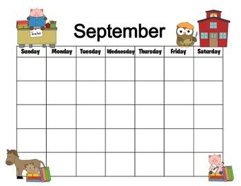 Farm Themed 12 Month Calendar