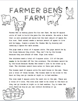 Farmer Ben's Farm: Units Squared Math Task 3.MD 5 and 3. MD 6