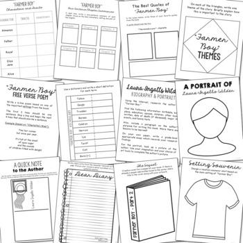 Farmer Boy by Laura Ingalls Wilder Interactive Notebook Novel Unit Study