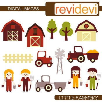 Farmer Clip art (kids, farm animals, trucks, barnyard)