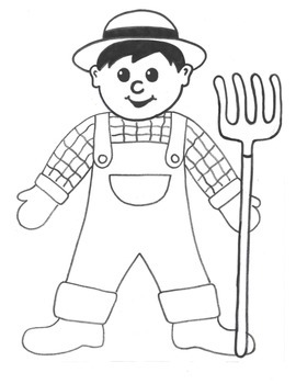 Farmer Craft, Writing Template, and Coloring Page