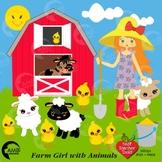 Farm Clipart, Farmer Girl Clip Art, Farm Animal Clipart, AMB-243