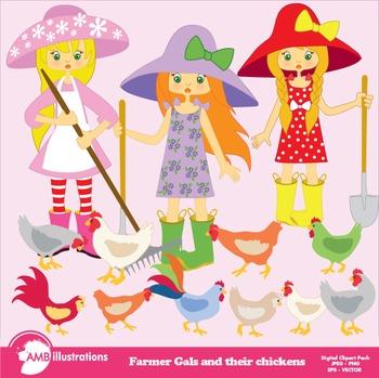 Farm Clipart Girl Clipart, Farmer Girl Clipart, Chicken Clip Art, AMB-445