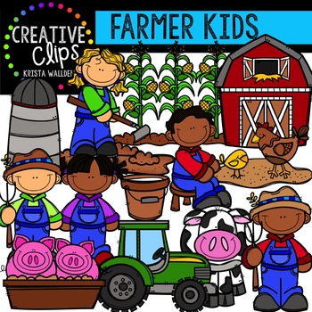 Farmer Kids {Creative Clips Digital Clipart}