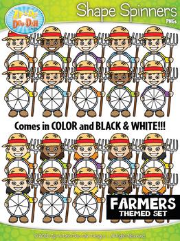 Farmer Kids Spinner Shapes Clipart {Zip-A-Dee-Doo-Dah Designs}