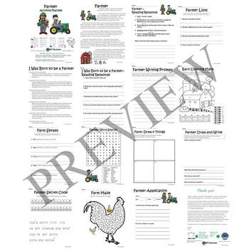 Farmer No Prep Activity Packet and Worksheets