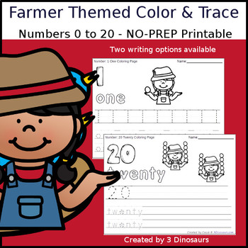 Farmer Themed Number Color and Trace