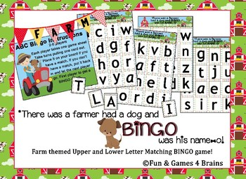 Farmer Themed Upper and Lower case Letters Bingo game